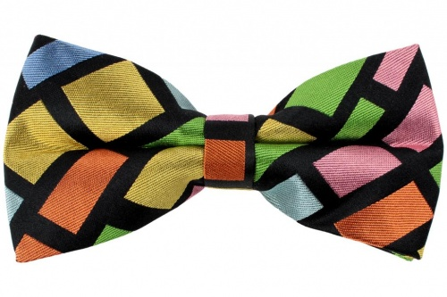 Black Bow Tie With Bright Multi Coloured Square  Design